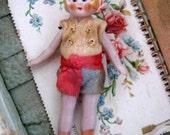 Antique German Dollhouse Bisque Flapper Doll in Felt Clothing