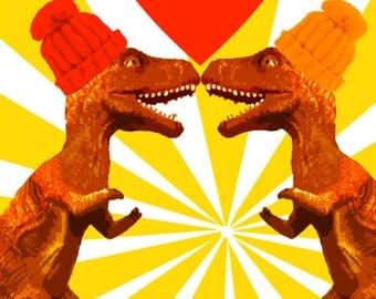 T REX te amo    Art Print by Giraffes and Robots