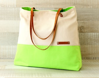 Large Tote Bag, everyday tote, travel tote, color block bag, neon green cream, neon, EXPRESS SHIPPING - leather, oversized bag, diaper bag