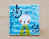 Small illustrated tile Solo (mixed media)