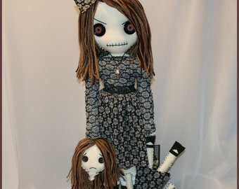 OOAK 22 inch Hand Stitched Rag Doll Creepy Gothic Folk Art by Jodi Cain Tattered Rags