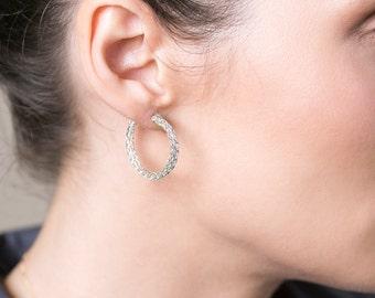 Sterling Silver HOOP earrings - Unique crochet medium hoops Knitted hoop earrings Wire crochet jewelry- Gypsy bohemian fashion