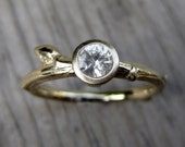 White Sapphire Budding Branch Engagement Ring: White, Yellow, or Rose Gold