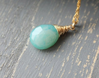 Turquoise Swirl Necklace Aqua Blue Chalcedony Necklace 14K Gold Filled Chain Handwrapped Gemstone 18 inch necklace