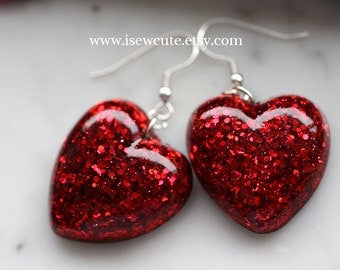Dangle Earrings, Red Heart, Glitter Resin, Dangle Heart Earrings, Romantic Red Resin Earrings, Gift Idea for Her handcrafted, isewcute