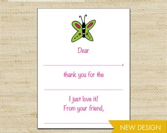 Butterfly Fill In Thank You Cards, Girls Thank You Cards, Birthday Thank You Cards, Kids Stationery, Eco Friendly, 10 cards & envelopes