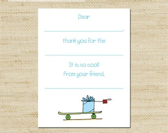 Skate Board Fill In Thank You Cards - 10 Cool Kids Note Cards