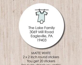 Return Address Label, Personalized Return Address Labesl - Sheet of 20 Matte White Round Labels
