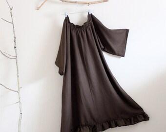 linen shirring ruffle dress made to order XS to 6XL