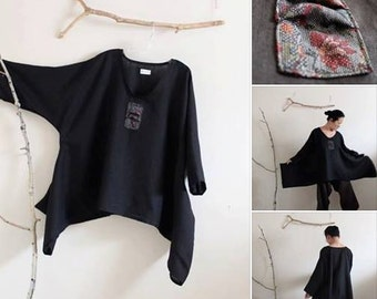 made to order plus size lagenlook kimono motif black linen top / plus size linen clothing / women linen clothing /  lagenlook tunic / tunics