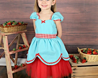 Strawberry dress for Country fair  retro STORYBOOK dress great for a special occasion or birthday party