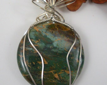 African Green Copper Opal in  Sterling Sterling Wire Wrap Pendant Necklace