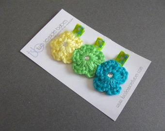 Hair Clips Crochet Flower Hair Clips Plaid Hair Clips Yellow Hair Clips Lime Green Hair Clips Turquoise Blue Hair Clips Baby Girl Hair Clips