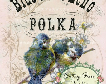 Vintage Blue Bird Polka Large digital download ECS buy 3 get one free pink  roses single image printable