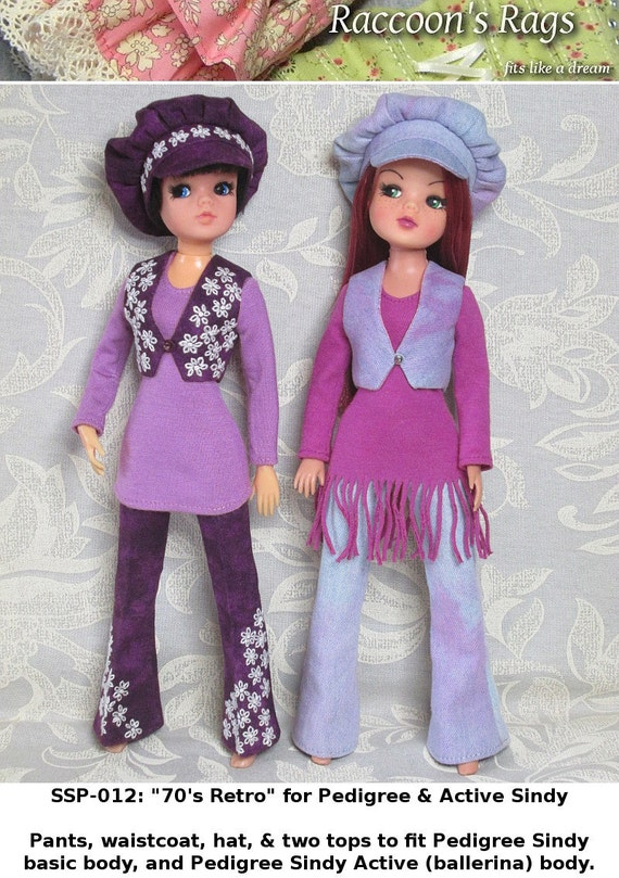"STRAIGHTFORWARD Sewing Pattern PDF- SSP-012: ""Seventies Retro"" for Pedigree Sindy and Active Sindy."