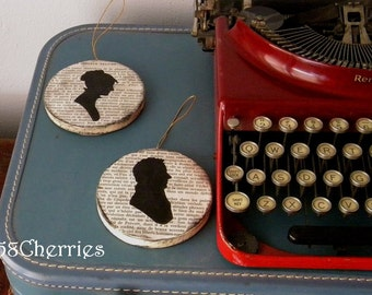 Parisian Silhouette Ornaments - Lady and Gentleman with Eiffel Tower and Typewriter on Vintage French Paper - Christmas and Valentine Decor