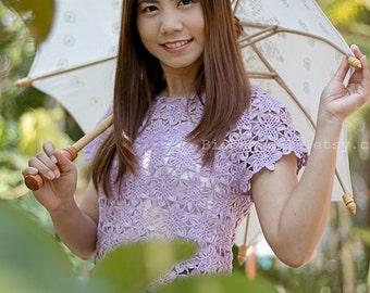 White Flower Thai parasol for wedding day