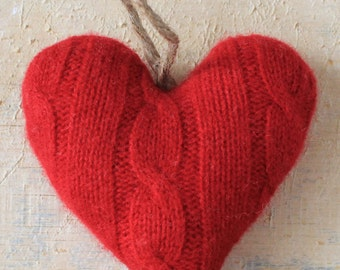 Red Valentineu0027s Day Heart Ornament // Valentine Decorations // Red Wool  Heart Ornament