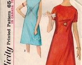 Vintage 60's Sewing Pattern, One Piece Dress, Size 9 Junior, Bust 30 1/2