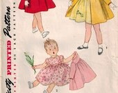 Vintage 50's Sewing Pattern, Toddler Girl Dress and Coat, Size 1/2  (6 months )
