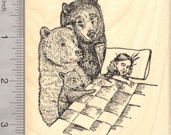 Goldilocks and the Three Bears Rubber Stamp, Fairy Tale, European Folklore M26215 Wood Mounted