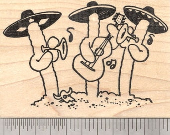Saguaro Mariachi Band Rubber Stamp, Sonoran Desert Cactus with Musical Instruments and Sombrero Hats J26619 Wood Mounted