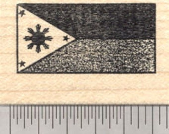 Flag of the Philippines Rubber Stamp, Three Stars And A Sun D25004 Wood Mounted