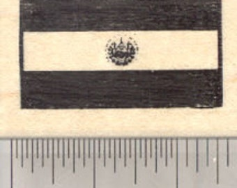 Flag of El Salvador Rubber Stamp D27430 Wood Mounted