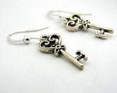 Small Key Earrings Silver Color Dangle Earrings