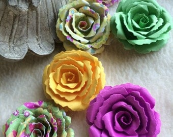 Scrapbook Paper Flowers...6 Piece Set Very Bright and Cheery Berry Sweet Scrapbook Rolled Paper Flower Roses