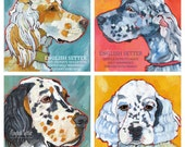 """English Setter 4 Print Collection- 6x6"""" 15% discount- Dog Wall Decor-Dog Wall Art- English Setter Art - English Setter Gifts - Dog Gifts"""