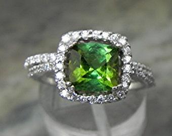AAAA Natural Green Tourmaline Cushion cut   7x7mm  1.51 Carats   14K white gold Halo Bridal set with ..45 carats of diamonds HB88  1526 MMM
