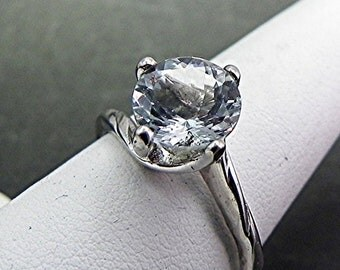 AAA Aquamarine   8mm  1.70 Carats   Round Natural Untreated in 14K White gold ring. MMM