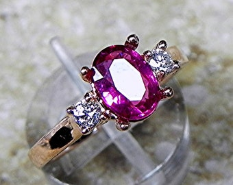 AAA Pink Tourmaline   8x6mm   with .14 cts of Diamonds 14K Rose gold ring T86  1759 MMMM