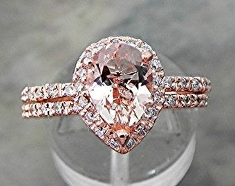 AAAA Salmon Peach Morganite 9x7mm 1.56 Carats 14K Rose gold bridal set with .40cts of diamonds. B107 1512