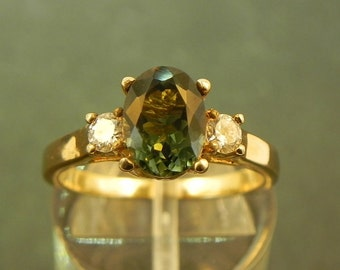AAAA Green Tourmaline 8x6mm 1.33 ct with .14 cts of Diamonds 14K white gold ring 1107 C863