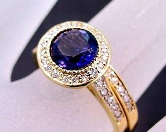 7.00mm 1.18 Carats AAA Round Brilliant Natural Iolite 14K Yellow gold diamond bridal set. B007  0781