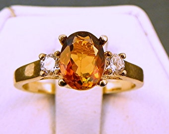 AAA Brown Tourmaline   8x6mm  1.20 Carats   with .14 cts of Diamonds 14K white gold ring 1067