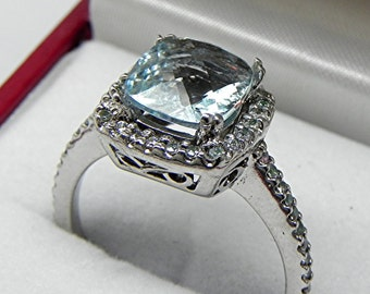 AAA Blue Green Aquamarine Cushion cut   8x8mm  1.78 Carats   14K white gold Halo Engagement Ring set w/ .30 carats of diamonds HB88 1289 MMM