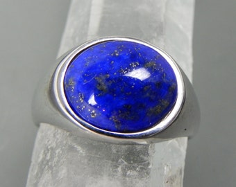 AAAA Lapis Lazuli Cabochon 12x10mm 3.36 Carats in 14K white gold ring.  1353