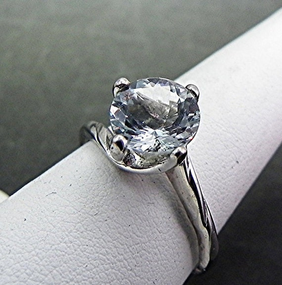 8mm  Round Natural Untreated Aquamarine 1.70cts in 14K White gold ring.