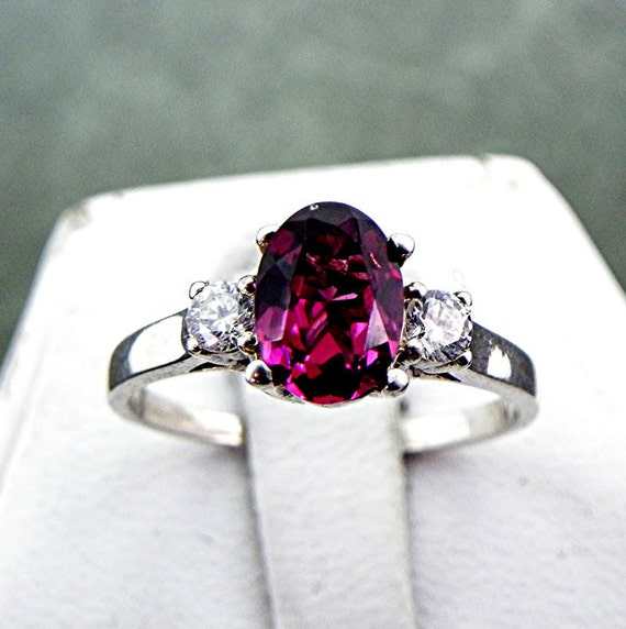 AAAA Purple Rhodolite Garnet 1.42 carats 8x6mm Natural in 14K white gold ring with White sapphire accents m