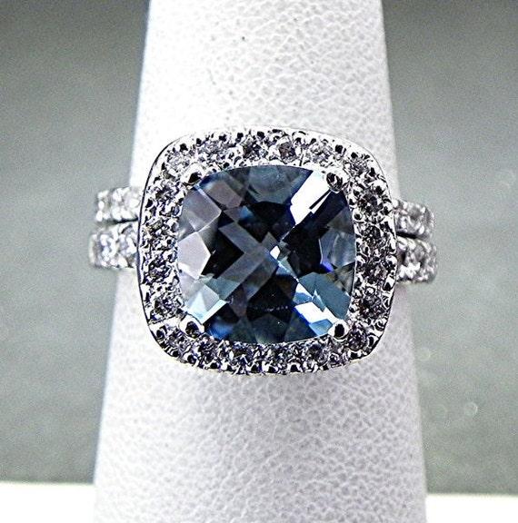 AAAA Cushion cut Santa Maria Aquamarine 4.26 Carat 10x10mm in 14K White gold diamond (.65ct) Bridal set. BH99 0950