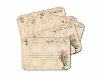 Marie Antoinette Recipe Cards, Paris Recipe Card, Bridal Shower Party Gift, Wedding Party Favor, Gifts for Her, Pink and Gray Recipe Card
