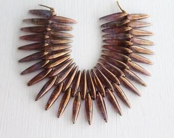 50  Bronze Picasso 4x15mm Czech Glass Thorn Beads