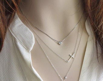 Side Cross Necklace • Sideways Cross • Layering Necklace • Cross Jewelry • Silver Cross • Simple Cross • Modern Cross • Layered Necklaces
