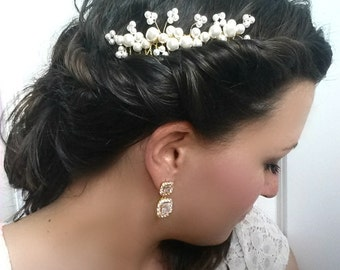 Pearl Spray Hair Comb, Beaded Swarovski Pearl Accessory, Flower Cluster Design, Gold, Wedding Hair piece, Wedding, Bridal