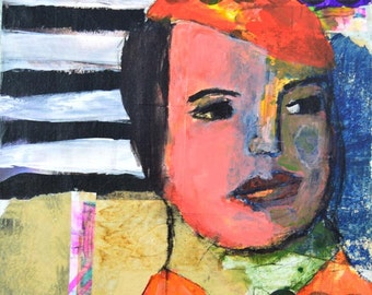 Acrylic Woman Portrait Painting - Mixed Media Collage Art - 8x8 Canvas - Red Beret - Office Wall Art
