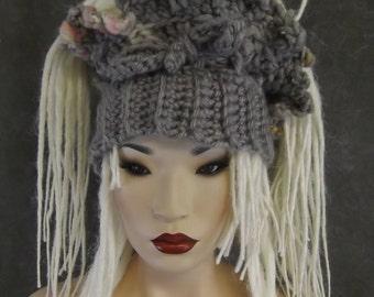 OOAK Crochet Dreadi-Wrap, Scarflette, Neckwarmer, Headband,Dreadlock Accessory,Collar,Grey, Pink, Aqua,Hair Accessory,Women