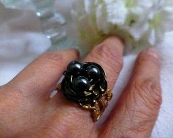 Poetic Bird's Nest Filigree Ring - Handwired Egg Nest Statement Cocktail Ring in Natural White, Robin Blue or Hematite Gunmetal